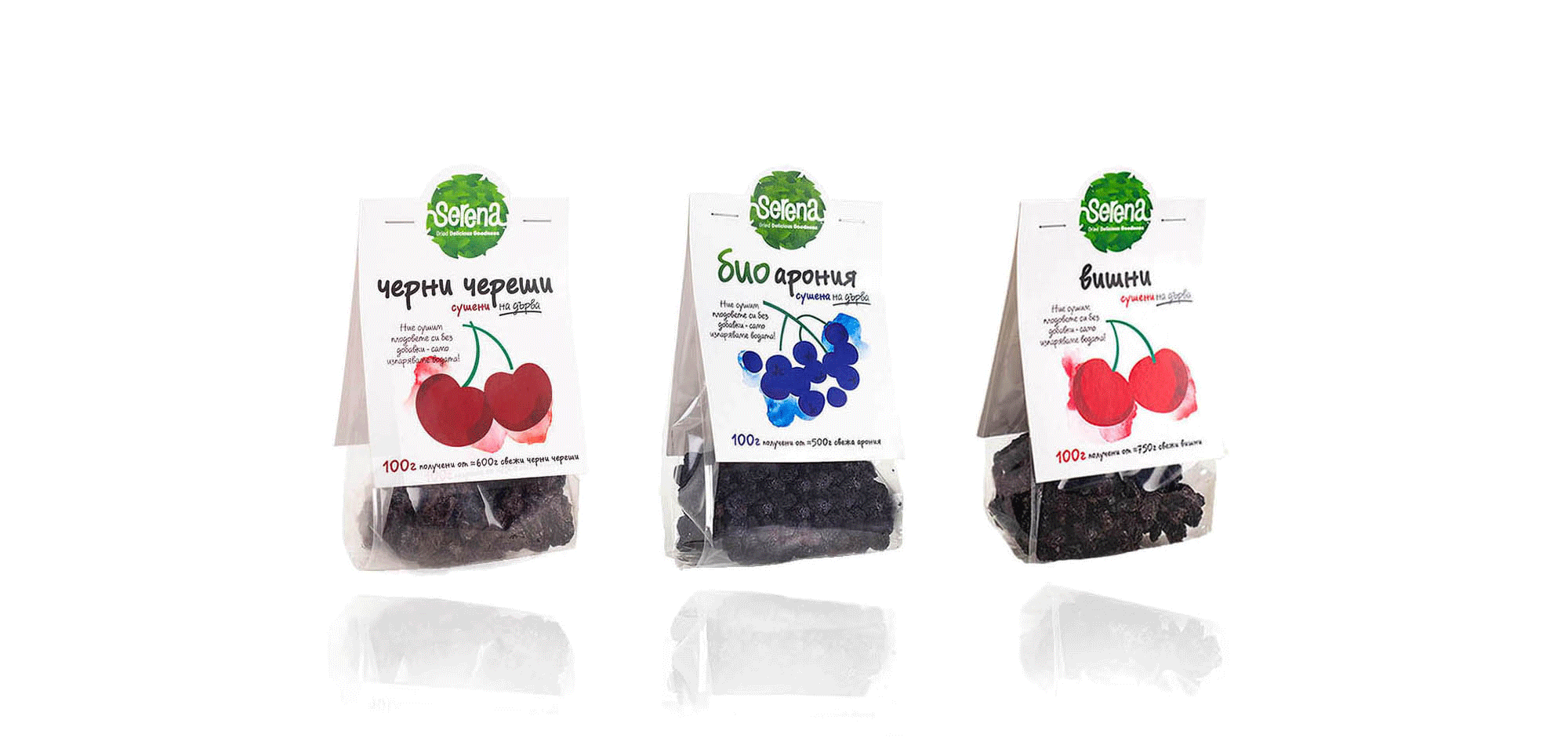 Dried black cherries, bio aroniq and sour cherries